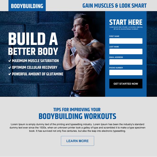 gain muscles look smart lead gen landing page design Bodybuilding example