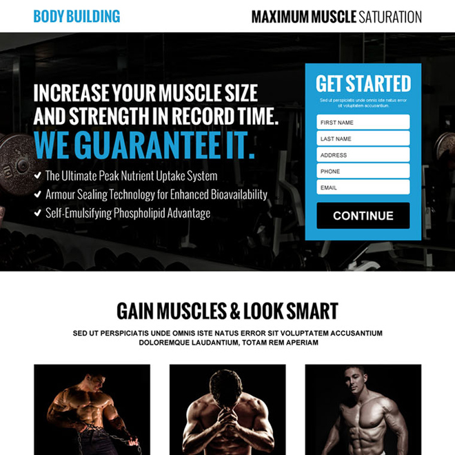 gain muscles look smart lead generating landing page design Bodybuilding example