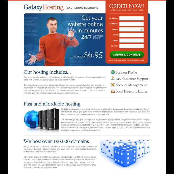 real hosting solution clean and converting squeeze page design to increase your leads Web Hosting example