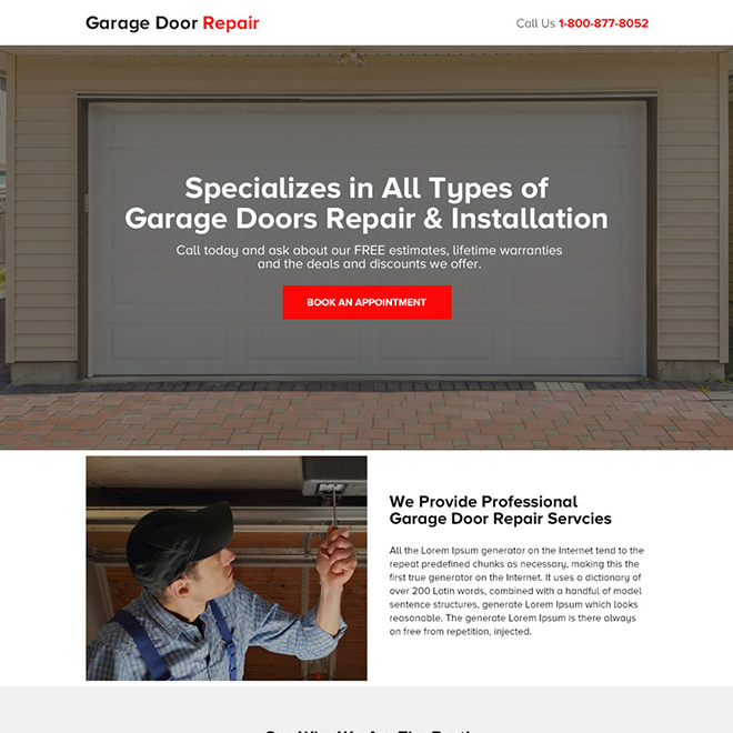garage door repair and installation bootstrap landing page Appliance Repair example