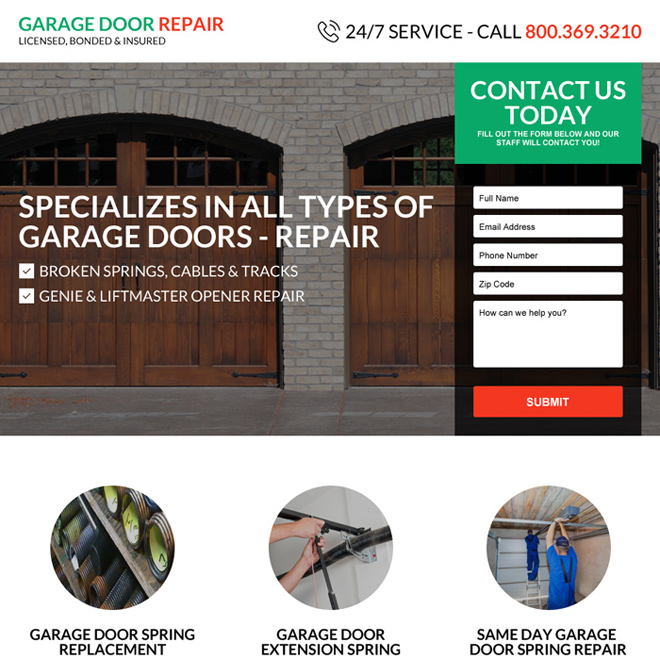 responsive garage door repair service landing page design Appliance repair example