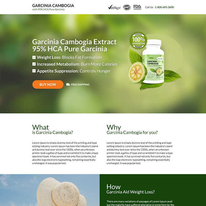 garcinia cambogia extract selling responsive landing page Weight Loss example