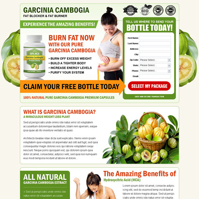 garcinia cambogia fat blocker and fat burner high converting landing page design Garcinia Cambogia example
