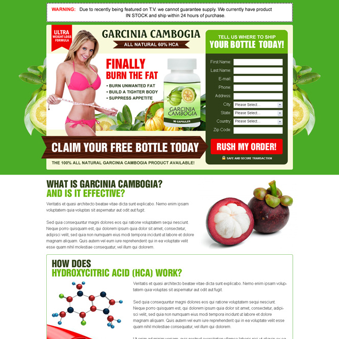 garcinia cambogia product free trial lead capture squeeze page design Garcinia Cambogia example