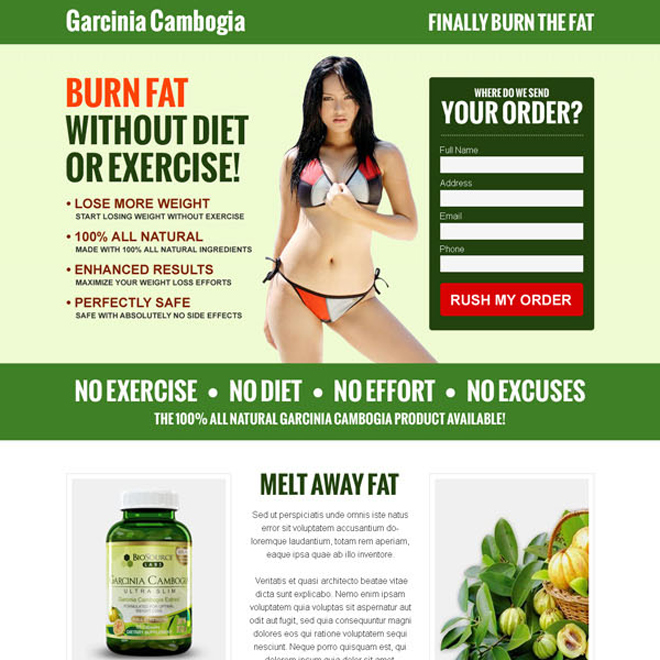 garcinia cambogia responsive lead capture landing page design to increase your product sales Garcinia Cambogia example