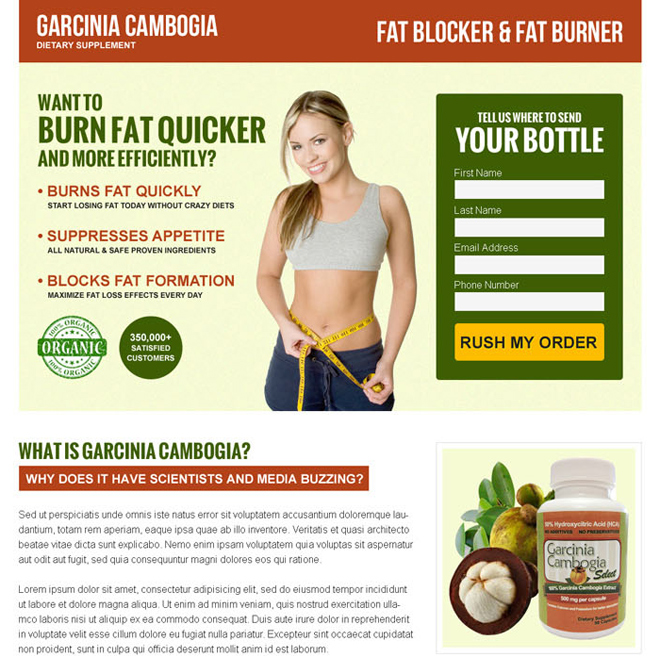 garcinia cambogia lead generating responsive landing page design Weight Loss example