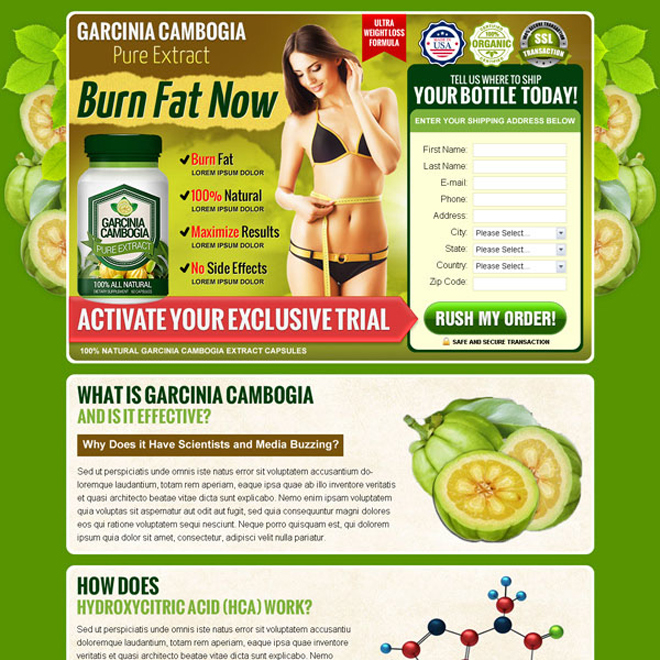garcinia cambogia pure extract product selling lead capture landing page design templates Garcinia Cambogia example