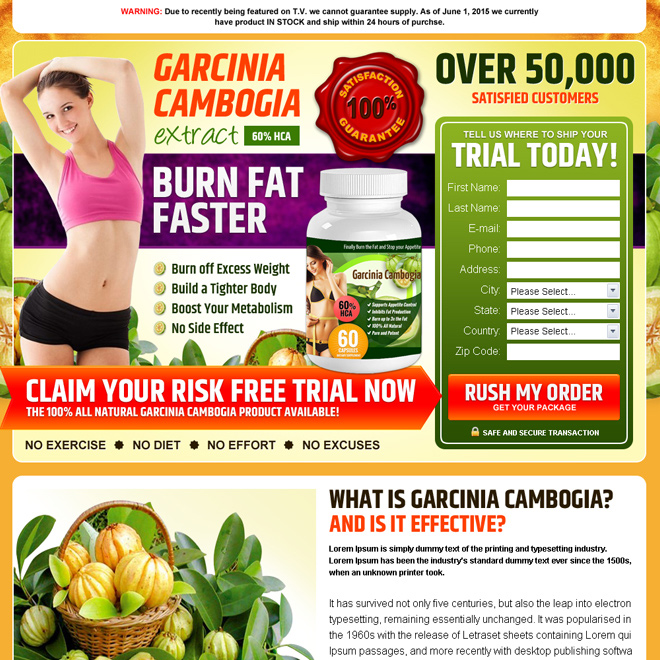 garcinia cambogia risk free trial product selling best converting landing page design Weight Loss example