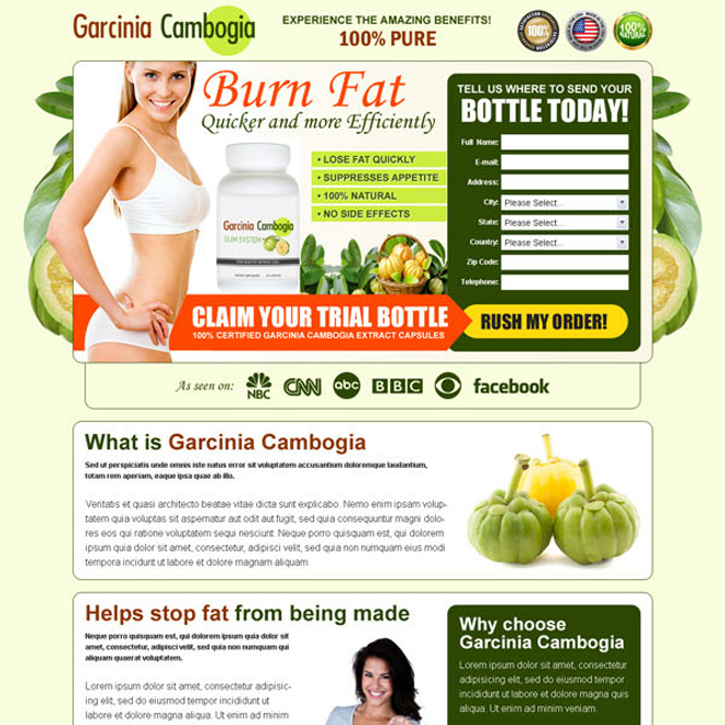 garcinia cambogia burn fat quickly and efficiently trial bottle lead gen page Garcinia Cambogia example