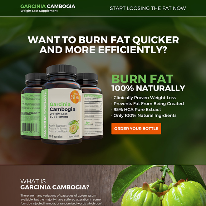 garcinia weight loss supplement responsive landing page Weight Loss example