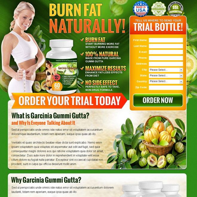 garcinia gummi gutta product selling converting lead gen landing page Weight Loss example
