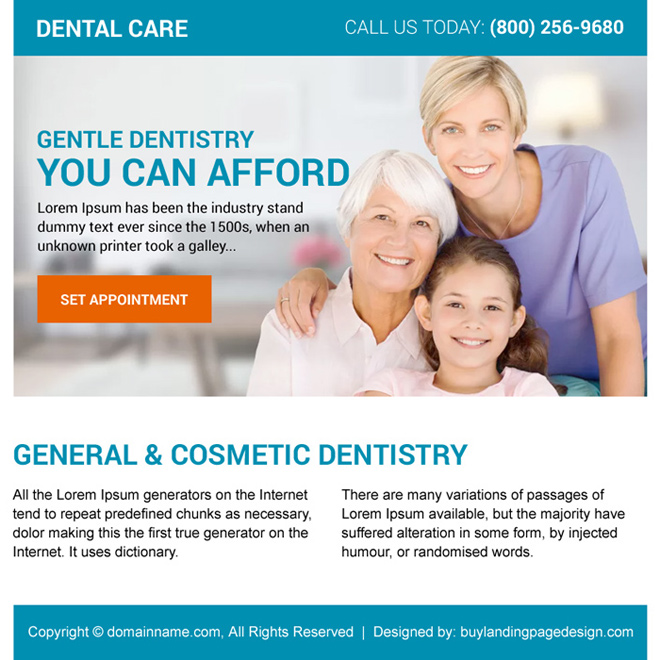 general and cosmetic dentistry ppv landing page design Dental Care example