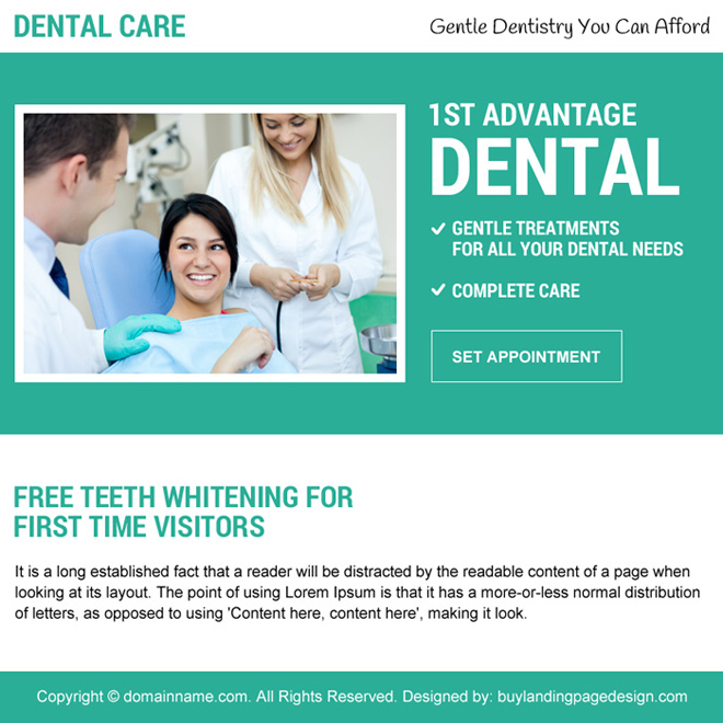 free teeth whitening appointment booking ppv landing page design Dental Care example