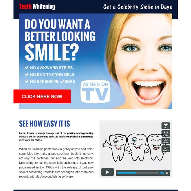 get a celebrity smile in days converting ppv landing page Teeth Whitening example