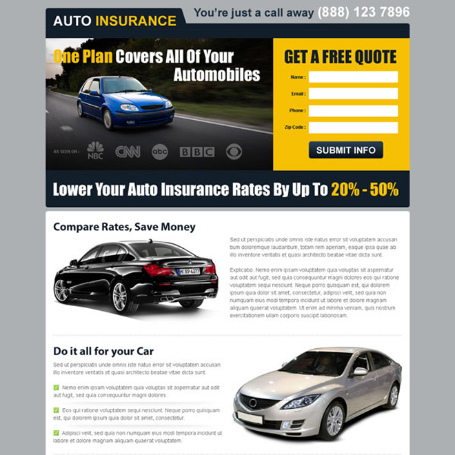 one plan for all your automobiles free quote clean and converting landing page Auto Insurance example