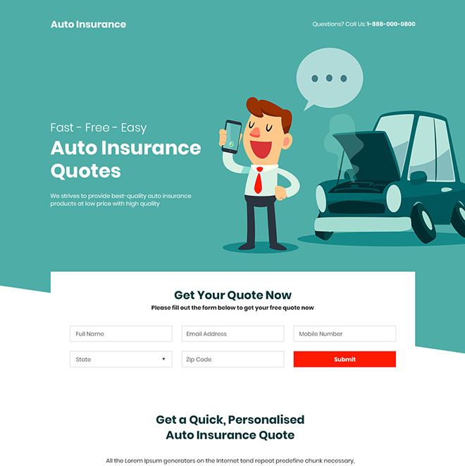 free auto insurance quotes responsive landing page Auto Insurance example