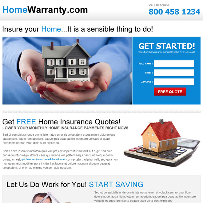 free home insurance responsive landing page design Home Insurance example
