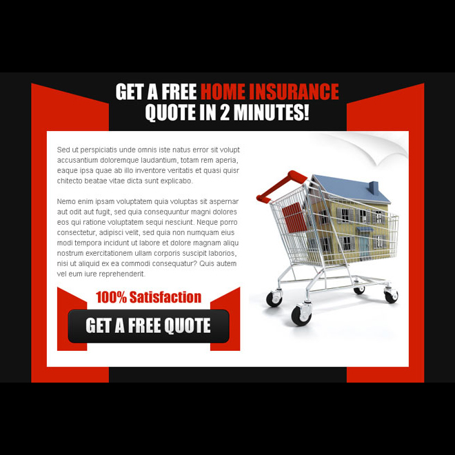 get a free home insurance quote in 2 minutes effective ppv landing page design Home Insurance example