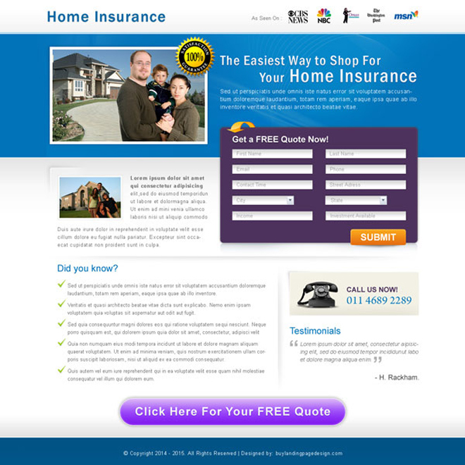 home insurance clean and effective lead capture landing page design for sale Home Insurance example