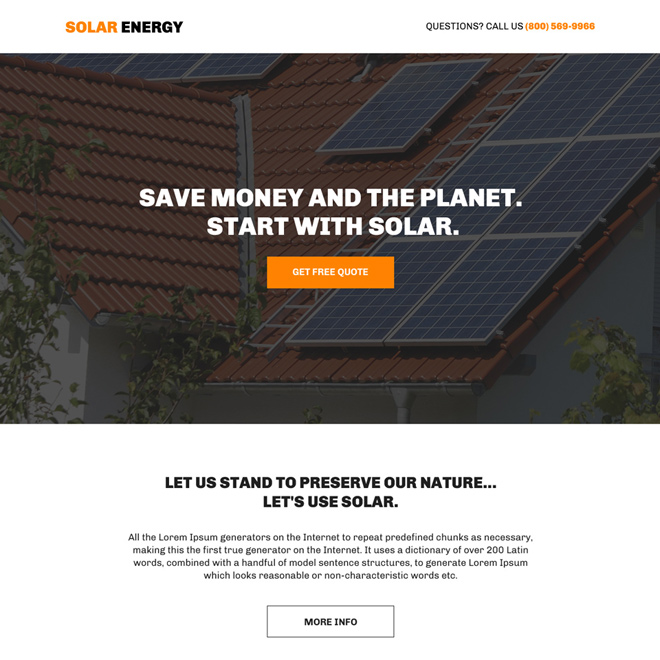 solar energy free quote lead generating bootstrap landing page Solar Energy example