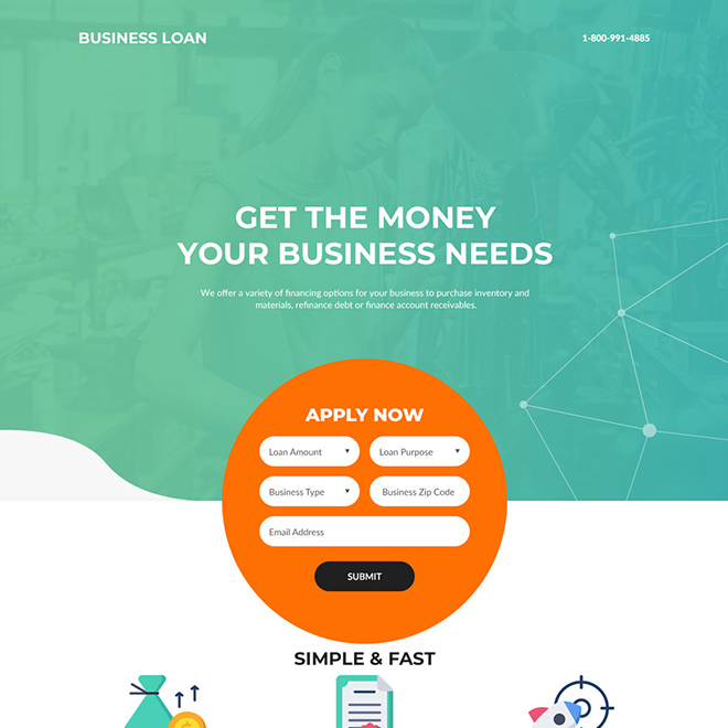 small business financing modern landing page design Business Loan example