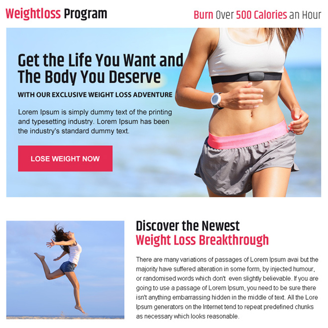 get body you deserve weight loss ppv landing page design Weight Loss example