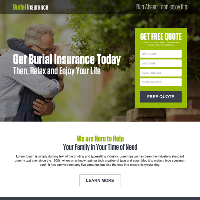 burial insurance free quote lead generation landing page design Burial Insurance example