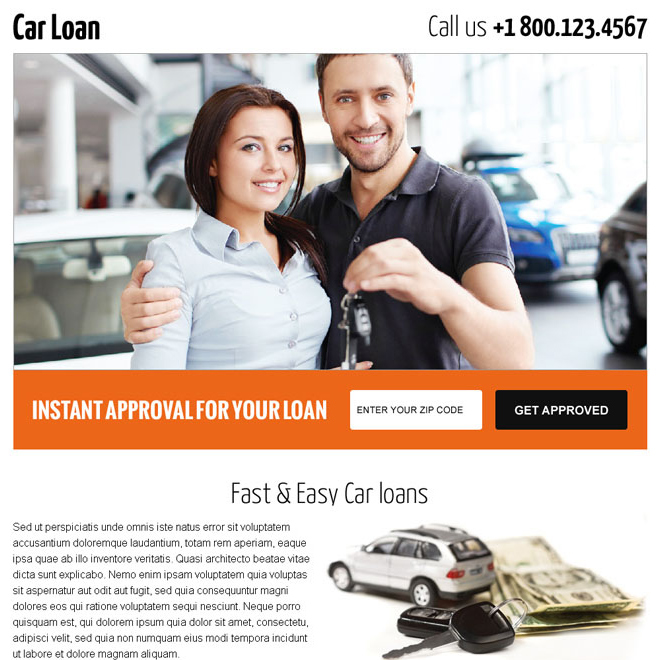 get car loan by zip code search landing page design Auto Financing example