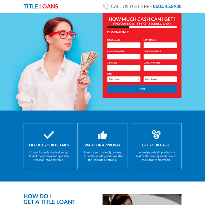 car title loans online responsive landing page design Auto Financing example