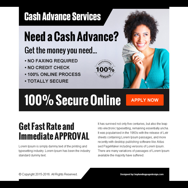 get cash in advance service call to action ppv landing page design template Loan example