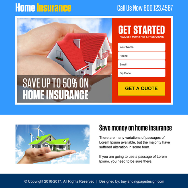 lead capturing home insurance professional ppv landing page Home Insurance example
