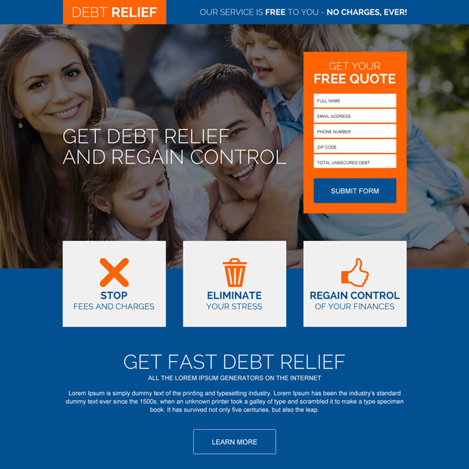 regain control of your finances landing page design Debt example