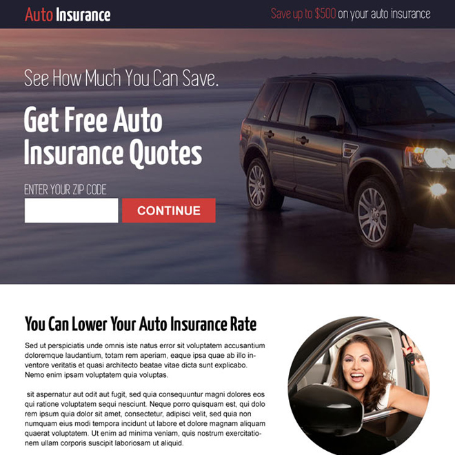get free auto insurance quote clean modern and professional lead capture responsive landing page design Auto Insurance example