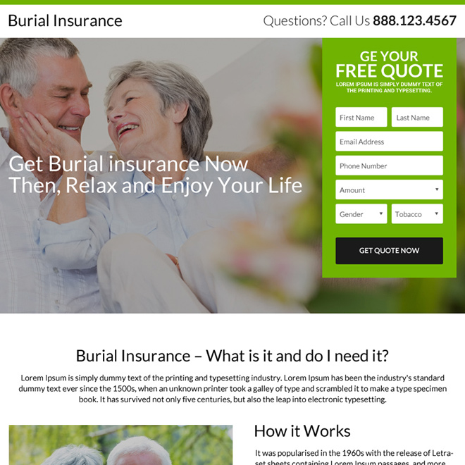 clean email capturing burial insurance landing page design Burial Insurance example