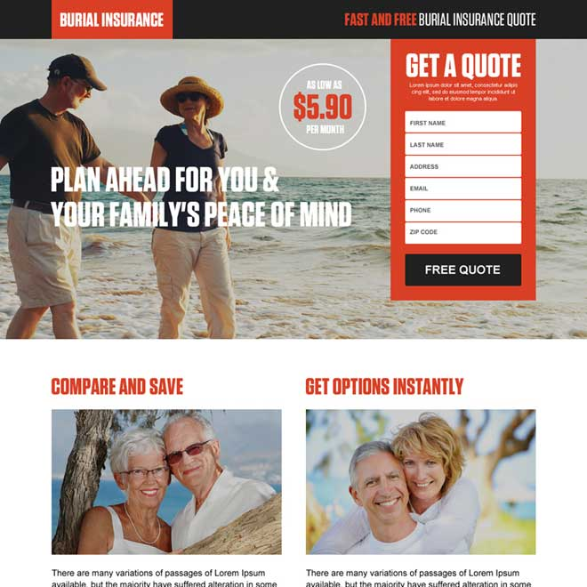 burial insurance get a free quote lead capture landing page Burial Insurance example