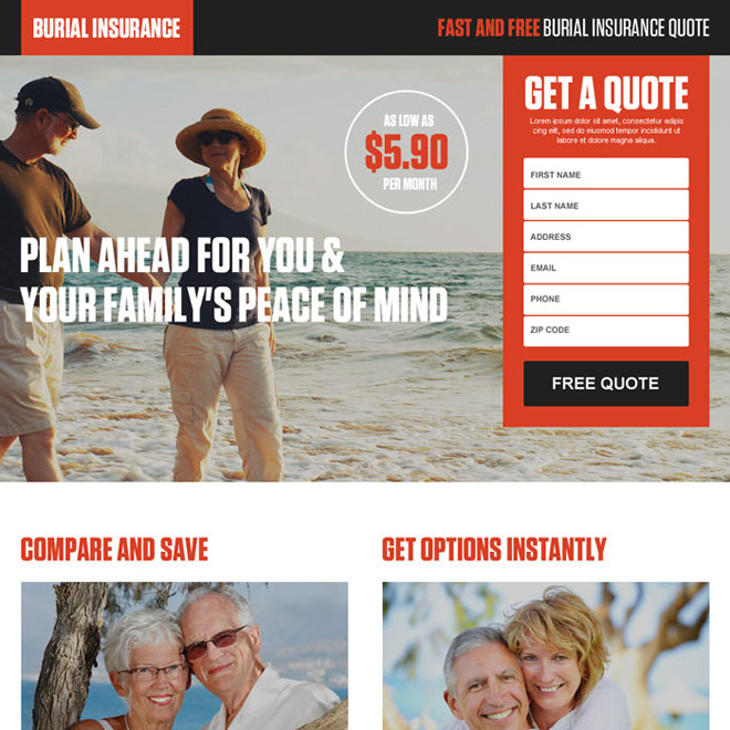 free burial insurance quotes responsive landing page design Burial Insurance example