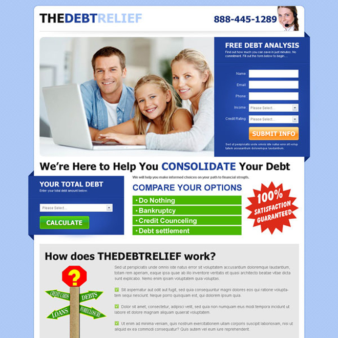 the debt relief clean and converting lead capture landing page design template Debt example