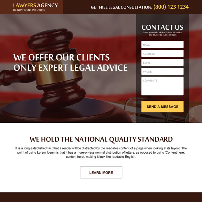 get free legal advice contact lead generating law landing page design Attorney and Law example