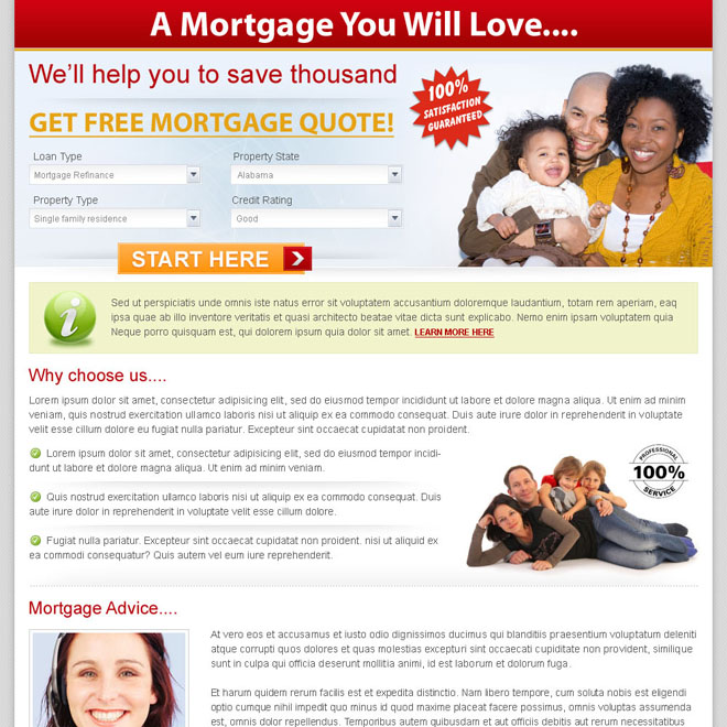 get free mortgage clean and converting landing page design for sale Mortgage example