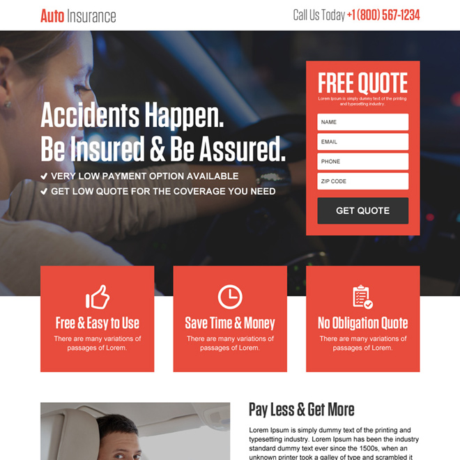auto insurance free quote lead gen responsive landing page design Auto Insurance example