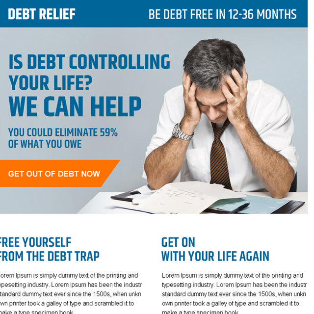 get help in debt controlling call to action ppv landing page design Debt example