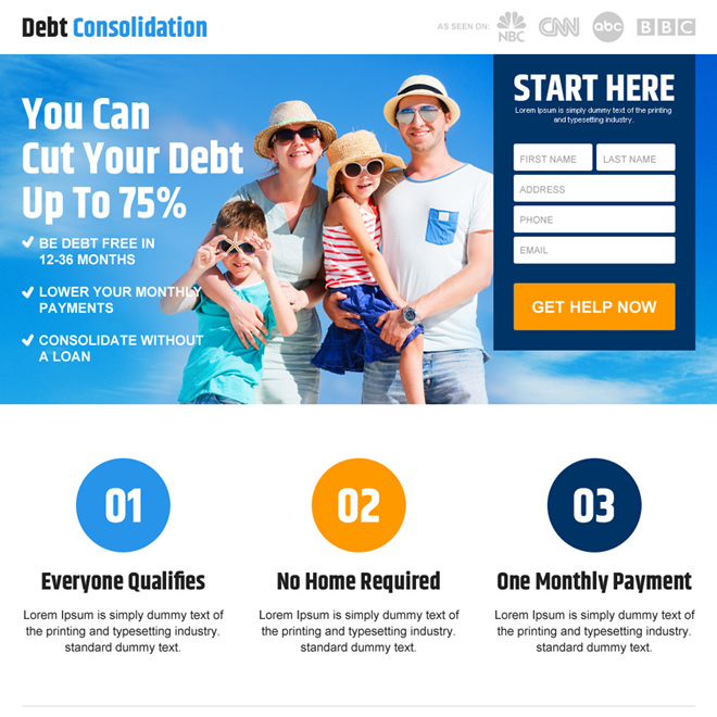 get help to cut of your debt lead capture landing page design Debt example