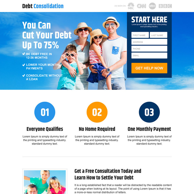 responsive debt consolidation landing page design Debt example