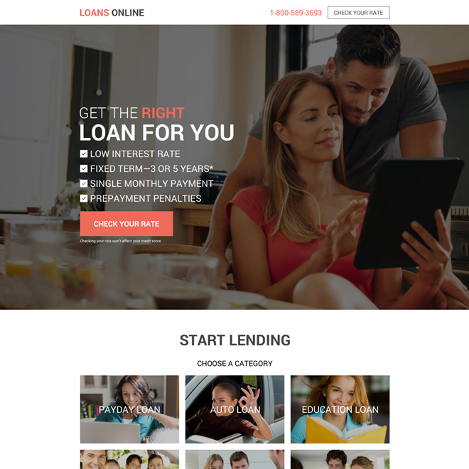 get instant online personal loan landing page design Loan example