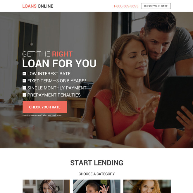 instant online personal loan responsive landing page Loan example