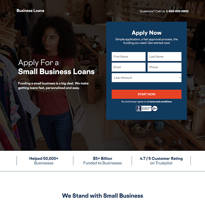 small business loan online application responsive landing page design Business Loan example