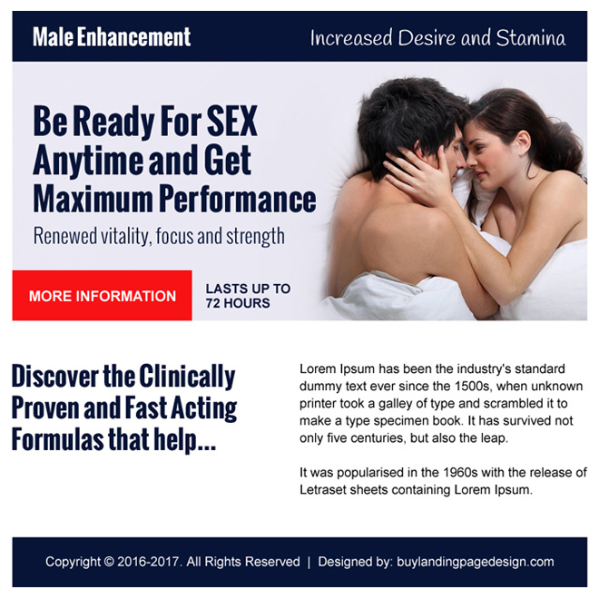 eye catching male enhancement ppv landing page design Male Enhancement example