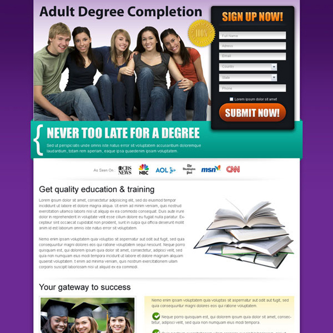 degree completion education effective and converting landing page Education example