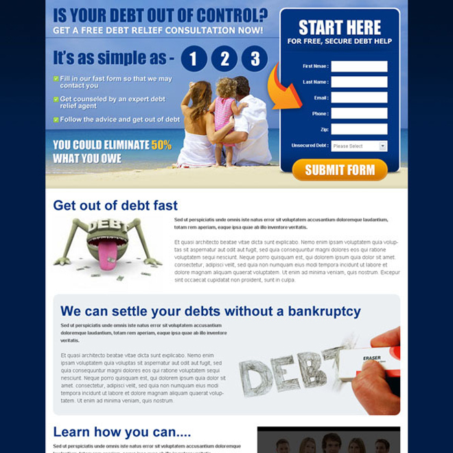 get a free debt relief consultation now lead capture effective and converting squeeze page design Debt example