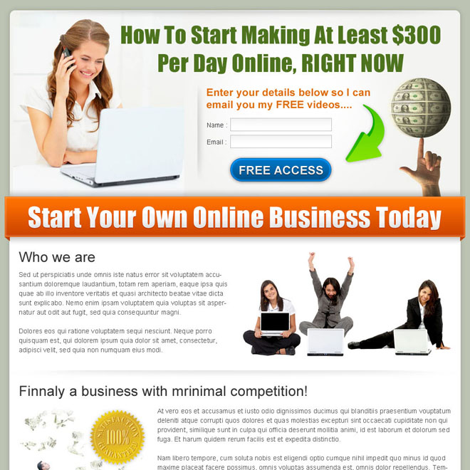 get paid money online converting landing page design for sale Make Money Online example
